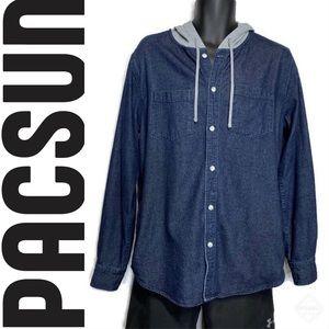 PacSun Denim Hooded Long Sleeve Button Up Shirt